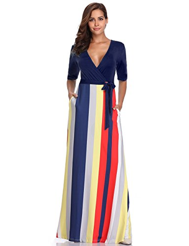 Half Sleeve Floor - Women's Striped V-Neck Half Sleeve Casual Maxi Dress Summer Beach Loose Floor-Length Dress