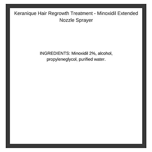 Keranique Hair Regrowth Treatment - Minoxidil Extended Nozzle Sprayer, 2 Ounce, 2-Pack, 60 Day Supply