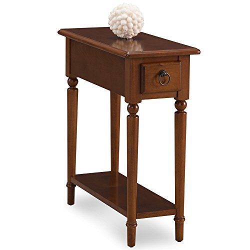 Leick 20017-PC Coastal Narrow Chairside Table with Shelf, Pecan by Leick Furniture