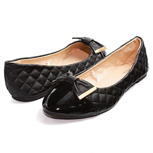 Sara Z Womens Quilted Ballet Flat Slip On Shoes With Bow and Patent Leather Toe Black/Gold Size 9/10 (Patent Dress Shoes)