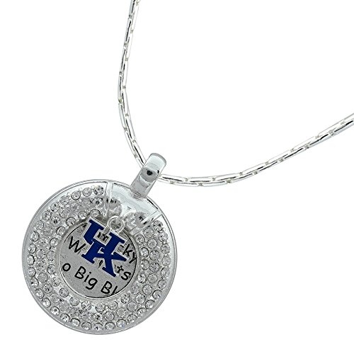 Kentucky Wildcats Circle Necklace with Logo Charm and Clear Crystals (Necklace Charm Logo Hanging)
