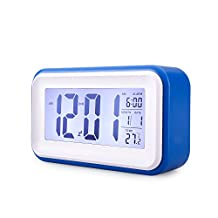Alarm Clock, MECO Digital Alarm Clock with Large LCD Screen, Soft Night Light Repeating Snooze, Month Date & Temperature Display, Battery Operated Travel Alarm Clock for Home Office (Blue)