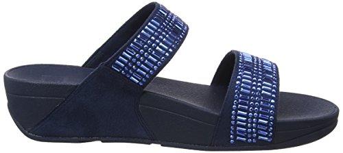 Fitflop Incastone Slide Sandals, Sandalias con Punta Abierta Para Mujer Azul (Midnight Navy)