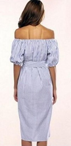 Ainr Épaule De Femmes Manches Courtes Robe De Soirée Rayée Avec Ceinture Bleu Clair