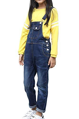 (LAVIQK Girls Big Kids Distressed Denim Overalls Blue Jeans Strecthy Ripped Jeans Romper )