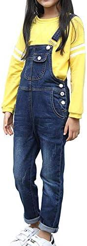 LAVIQK 3-14 Years Kids Big Girls Jumpsuits & Rompers Distressed Bib Denim Overalls Blue Long Jeans Stretch