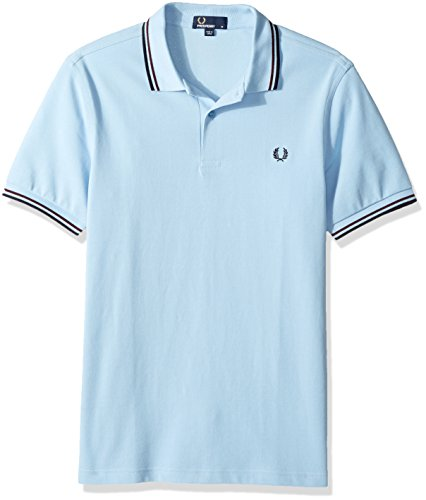 Fred Perry Men's Twin Tipped Polo Shirt, GLC/Shir/Nvy, Medium (Shirt Fred Perry Polo Embroidered)