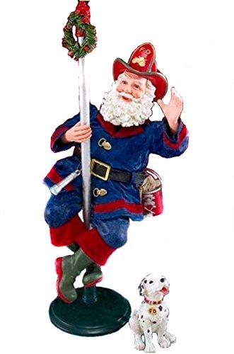 Fireman Santa - Enesco Clothtique Possible Dreams in the Nick of Time Santa Fireman W Dalmatian