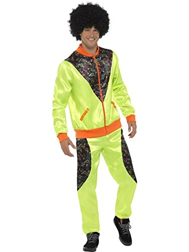 Smiffys Men's Retro Shell Suit Costume, Neon Green, Large