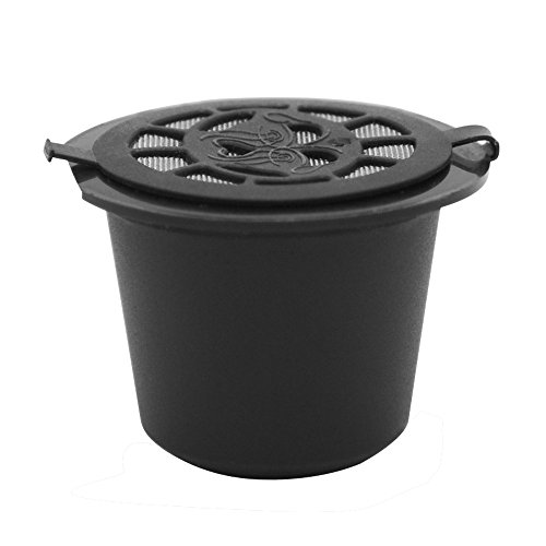 BRBHOM 6 Reusable Nespresso Capsules Refillable Coffee Capsule Filter Compatible with Nespresso coffee machines with Coffee Spoon brush (6, Black)