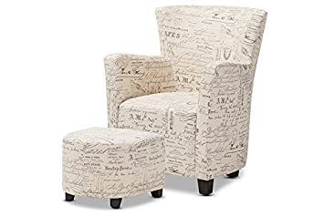 Fabulous Baxton Studio Benson French Script Patterned Fabric Club Chair And Ottoman Set Creativecarmelina Interior Chair Design Creativecarmelinacom
