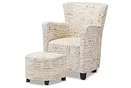 Charmant Baxton Studio Benson French Script Patterned Fabric Club Chair And Ottoman  Set