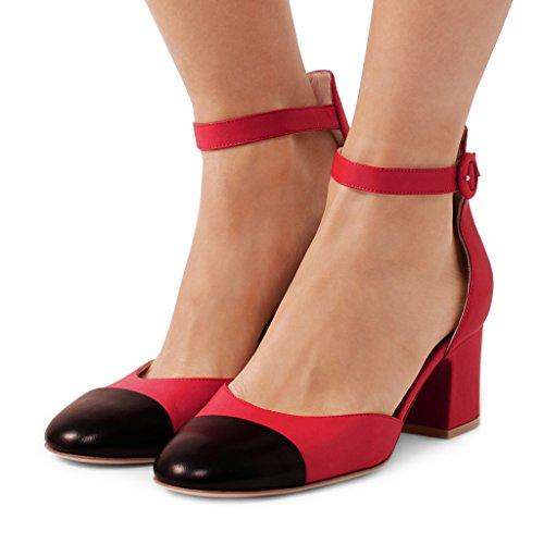 Fsj Kvinder Ankelrem Blok Hæl Pumps Runde Toe Sko Vintage D'orsay Sandaler Str 4-15 Os Rød r1VYCwY