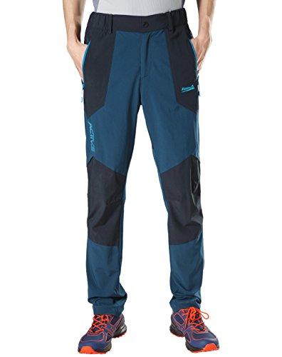 Makino Men's Breathable Rock Climbing Pants Lightweight Quick Dry Jogging Pants With Zipper Pockets Deep Blue (Rock Zipper)