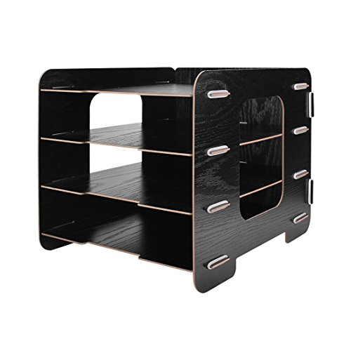 4 Trays Sorter Rack, OffKits Wood Desktop Document Organizer File Holder Wood Compartment Storage Rack Easy Assembly (Black) by OffKits