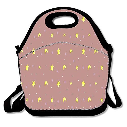 Basic Brown Dot Moon Patterns Insulated Portable Tote Bag - Picnic Lunch Cooler Bags Mens and Womens Travel Totes With Shoulder Strap For School Work