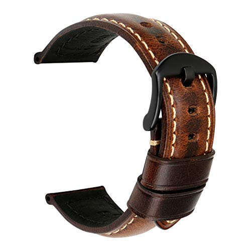 MAIKES Leather Strap Watch Band Vintage Oil Wax Watch Strap Watchband with Stainless Steel Buckle 20mm 22mm 24mm 26mm 5 Colors Available (Band Width 22mm, Dark Brown+Black Clasp)