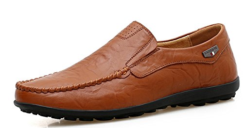 Shinysky Men's Genuine Leather Fashion Slipper Casual Slip On Loafers Driving Shoes(1887Brown46)