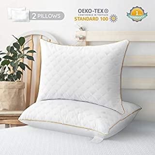 LUTE Standard Bed Pillows 2 Pack, Premium Down Alternative Hotel Collection Bed Pillows Soft & Comfortable Hypoallergenic for Back, Stomach, Side Sleepers