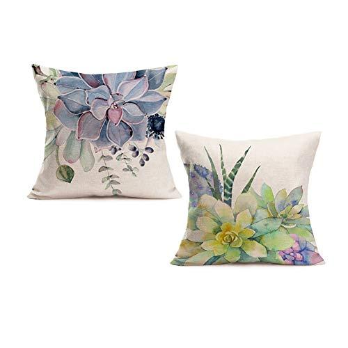 Smilyard Tropical Plant Cotton Linen Decorative Pillow Covers Succulent Cactus Print Throw Pillow Case Summer Theme 18x18 Inch 2Pack Cushion Cases Decor Farm Home Couch Garden (Cactus-B Set 2)