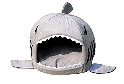 CAMAL Pet Bed, Shark Round Washable Cotton Soft Dog Cat Bed with Bed Mat