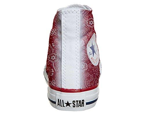 Converse personnalisé All Star Hi chaussures coutume, Sneaker Unisex (produit artisanal) Red Paisley size 37 EU