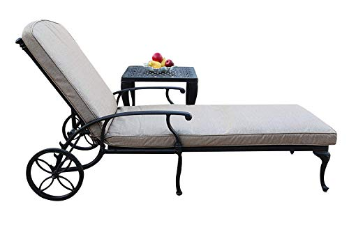 A Pair of 2 Sienna Collection Cast Aluminum Powder Coated Chaise Lounge with Lite Brown Seat Cushions SA01 For Sale
