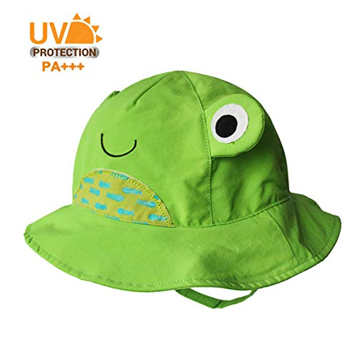 (Cotton Breathable Animal Anti UV Sun Protection Bucket Hat with Chin Strap Summer Outdoor Cap for Kids Toddler Baby Girls Boys(Green Frog, 18.9''(6-12Months)))