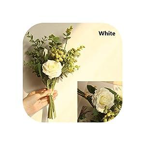 Bridal Rose Wedding Bouquet Bridesmaid Peony Eucalyptus Leaves Bouquets Artificial Silk Flowers Arrangement,Small-White 1