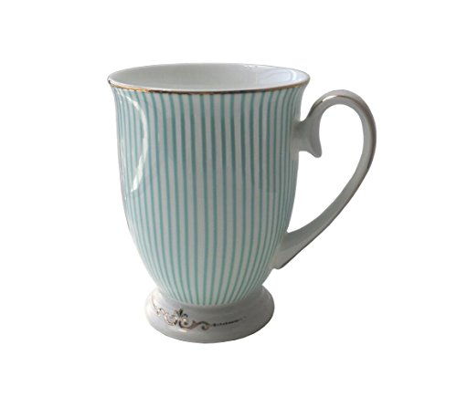 (LESCA TEK Creative Fashion England Royal Fine Bone China Gold-plated Light Blue Stripe Coffee Cup Tea Cup Golden Edge and Gilded Mocha Cup in Gift Box)