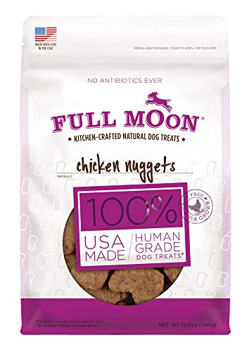 Full Moon All Natural Human Grade Dog Treats, Chicken Nuggets, 12 Ounce ()