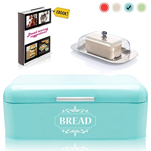 vintage bread box for kitchen stainless steel metal in retro turquoise blue   free butter dish  bread serving suggestions ebook 16 5  x9  x6 5   large bread     vintage kitchen accessories  amazon com  rh   amazon com