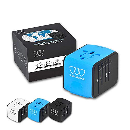 Universal Travel Power Adapter with Smart High Speed 2.4A 4xUSB Wall Charger, European Adapter, Worldwide International AC Outlet Plugs Adapters for Europe, UK, US, AU, Asia (Blue) by Gold Armour
