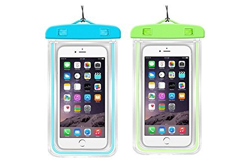 (Waterproof Case, 2 Pack Three Legs Clear Universal Waterproof Case, Dry Bag, Pouch, Transparent Snow Proof Dirt Proof for iPhone 6S Plus 5S 5C, Samsung Galaxy S7 S6 Edge, Note 5 4 3 (Blue, Green) )