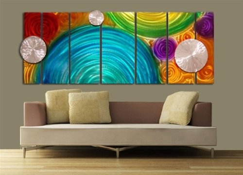 Aqua, Orange, Red, Green & Purple Prismatic Contemporary Metal Wall Art With Abstract Silver 3D Disc - Large Home Accent, Home Decor, Modern Hand-Painted Metal Wall Sculpture - Elation by Jon Allen