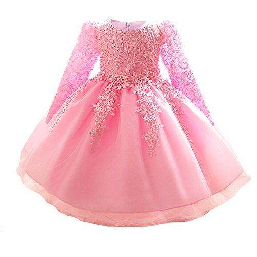 Myosotis510 Girls' Lace Princess Wedding Baptism Dress Long Sleeve Formal Party Wear for Toddler Baby Girl (4 Years, Pink) -