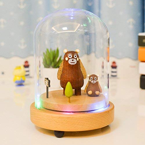 FORTR HOME Wooden Craft Clockwork Music Box with Tri-Color LED Light for Birthday Gift Desktop Decoration-Two Bear Interesting Toy FORTR-music box