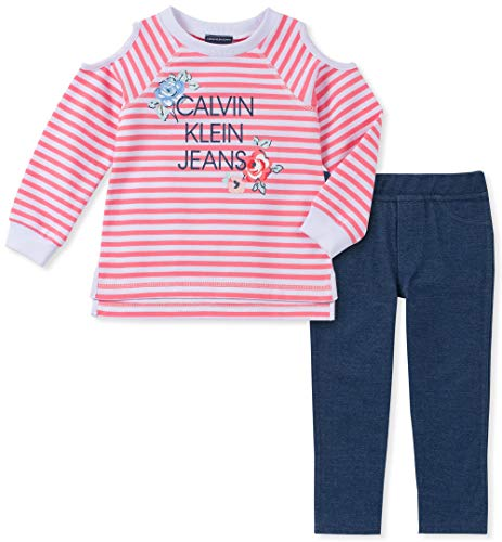 Calvin Klein Girls' Little 2 Pieces Legging Set Pants, Strawberry Pink Stripes, 5 ()