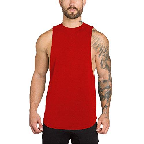 (ZUEVI Men's Muscular Cut Open Sides Bodybuilding Tank Top(ZRed-XL-L))