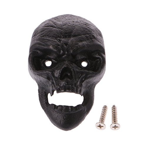 Cicitop Wall Mount 3D Cast Iron Skull Beer Bottle with Screws, Halloween Skull Wall Mounted Bottle Opener Halloween Home Decoration Creative Bar Pub Decor (Black)