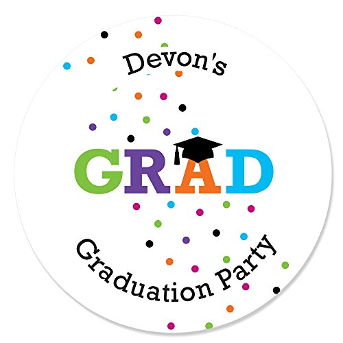 Hats Off Invites - Custom Hats Off Grad - Personalized Graduation Party Circle Sticker Labels - 24 Count