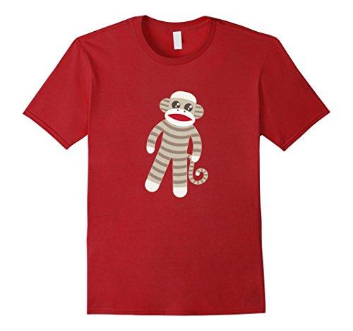 Mens Cute Classic Striped Sock Monkey T-Shirt Medium Cranberry (Striped Monkey Red)