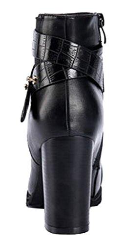 INDEX Rough High Heels Shoes Fashion For Women(7 B(M) US, Black)