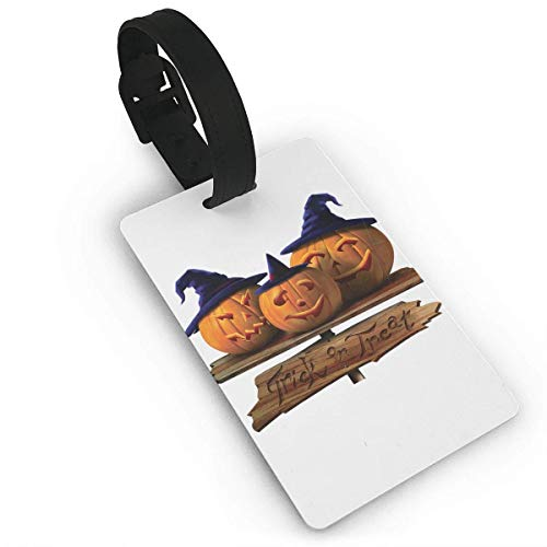 Luggage Tags Holders for Travel Luggage,Luggage Tags for Suitcases, Luggage Tags with Genuine Hand Strap Halloween Pumpkins with Blue Hats Travel Suitcase Bag Tag Identify Label ()
