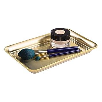 mDesign – Bandeja decorativa para cosméticos, perfumes y toallas – El organizador de maquillaje y