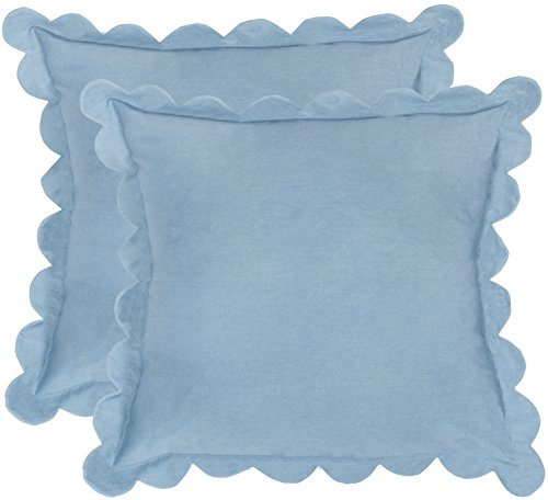 Safavieh Pillow Collection Throw Pillows, 12 by 20-Inch, Pinafore Wedgwood Blue, Set of 2