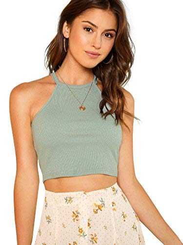 Striped Rib Knit Tanks - SheIn Women's Sexy Sleeveless Basic Halter Striped Rib Knit Cami Crop Tops Mint