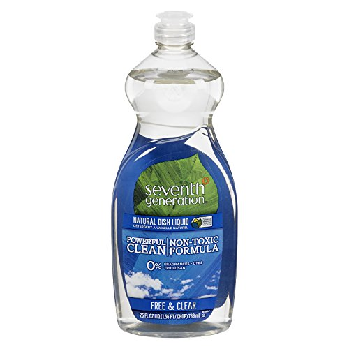Seventh Generation Dish Liquid, Free & Clear, 25 oz (Pack of 6)