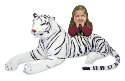 Melissa & Doug Giant Siberian White Tiger - Lifelike Stuffed Animal (over 5 feet long)