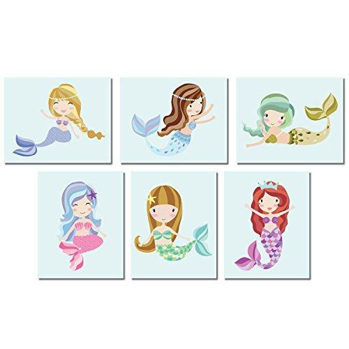Mermaid Wall Art Prints (8x10, Blue)